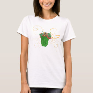 Yorkie Puppy Christmas Bag with Holly Tee Shirt