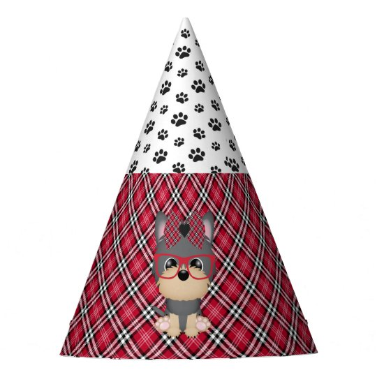 Yorkie Puppy Dogs Red Plaid Birthday Party Hats