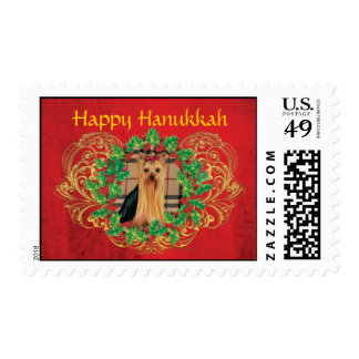 Yorkie Puppy Hanukkah Holly Postage Stamps