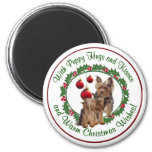 Yorkie Puppy Hugs & Kisses Warm Christmas Wishes Magnet