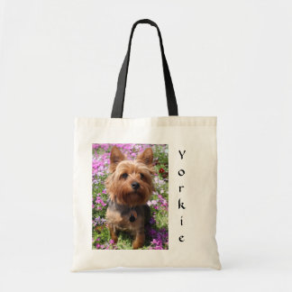 Yorkie Puppy in a Garden Budget Canvas Tote Bags
