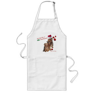 Yorkie Puppy Merry Christmas Wishes Long Apron