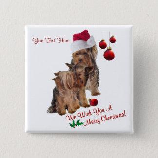 Yorkie Puppy Wonderful Christmas Wishes Pinback Button