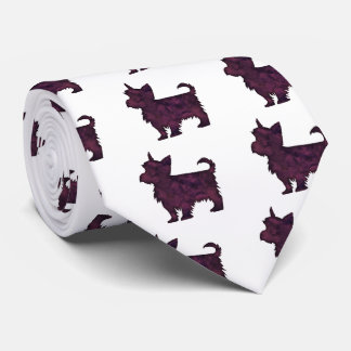 Yorkie Purple Watercolor Silhouette Tie