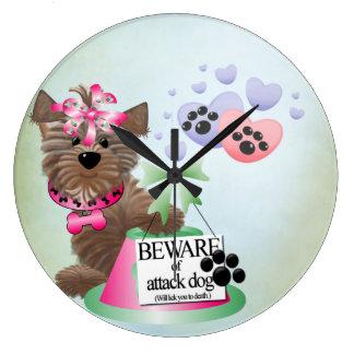 Yorkie Round 2 (Large) Clock