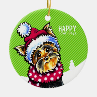 Yorkie Scarf Christmas Happy Howl-i-days Ceramic Ornament