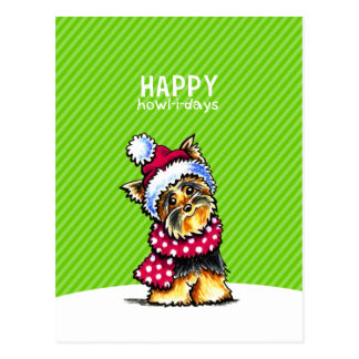 Yorkie Scarf Christmas Happy Howl-i-days Postcard