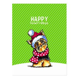 Yorkie Scarf Christmas Happy Howl-i-days Postcards