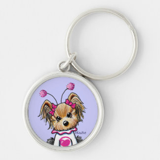 Yorkie Terrier Love Bug Silver-Colored Round Keychain