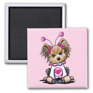Yorkie Terrier Love Bug Square Magnet