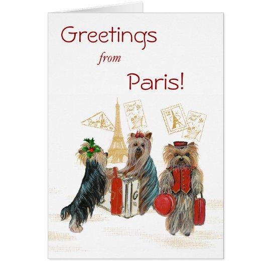 Yorkie Travel Paris Eiffel Tower Christmas Card