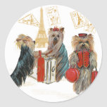 Yorkie Travel Paris Eiffel Tower Stickers