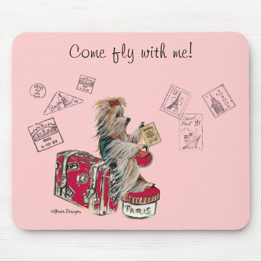 Yorkie Travelling Paris Mouse Pads