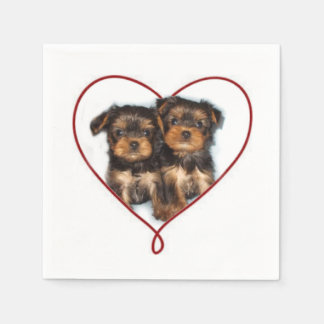 Yorkie valentines cocktail napkins