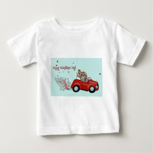 Yorkie Vintage Red Car Valentine Infant Tee Shirt