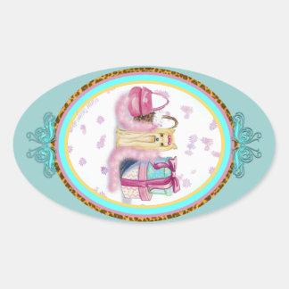 Yorkie viste para arriba diseño oval de lujo pegatinas de óval personalizadas