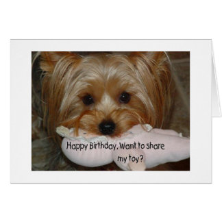 "YORKIE WANTS TO SHARE TOY ""ON YOUR BIRITHDAY"" CARD"