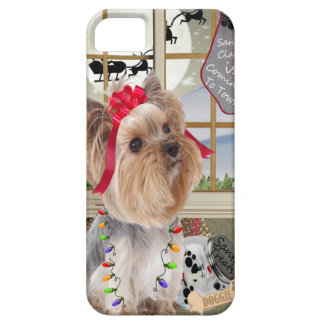 Yorkie Watches For Santa iPhone SE/5/5s Case