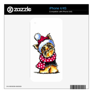 Yorkie Winter Scarf Polka Dots Skin For The iPhone 4S
