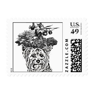 YORKIE WITH FLOWERS POSTAGE STAMP