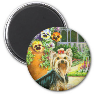 Yorkie with Gazebo and Pansies Magnet