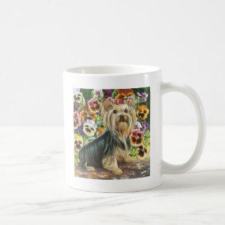 Yorkie with Pansies Coffee Mug