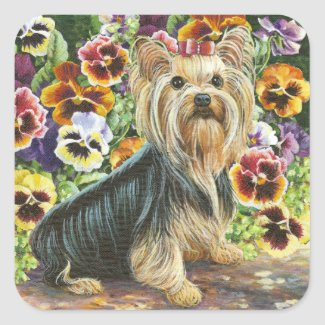 Yorkie with Pansies Sticker