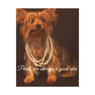 Yorkie with Pearls and Quote Canvas Print