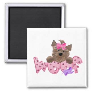 Yorkie Woof 2 Inch Square Magnet