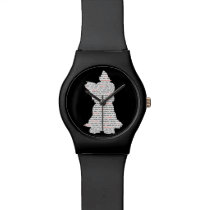 Yorkie Word Art Wristwatch