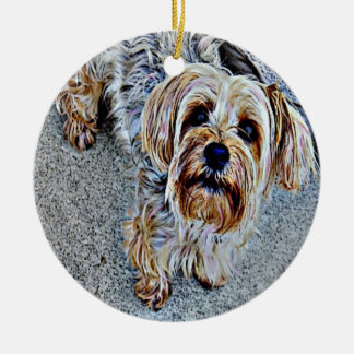 Yorkie Yorkshire Terrier Colored Ceramic Ornament