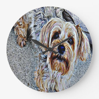 Yorkie Yorkshire Terrier Colored Large Clock