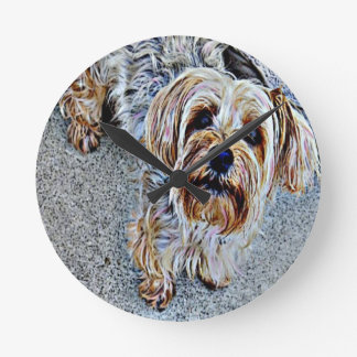 Yorkie Yorkshire Terrier Colored Round Clock