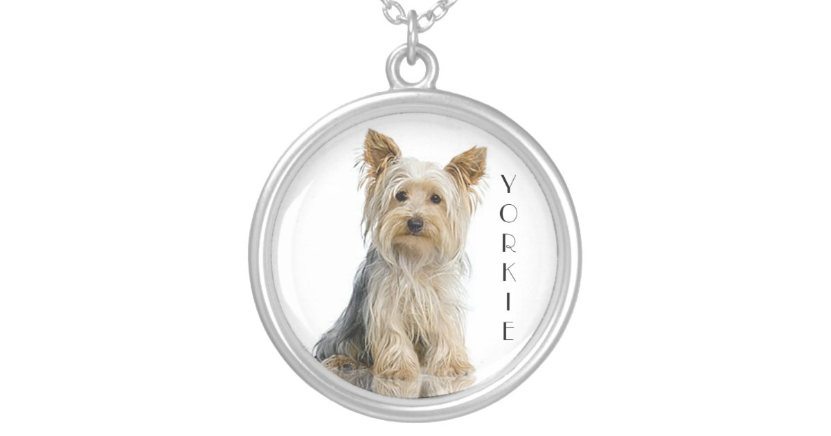 Yorkie yorkshire terrier silver pendant necklace zazzle aloadofball Image collections