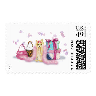 Yorkie Yorkshire Terrier with Feather Boa Postage Stamps