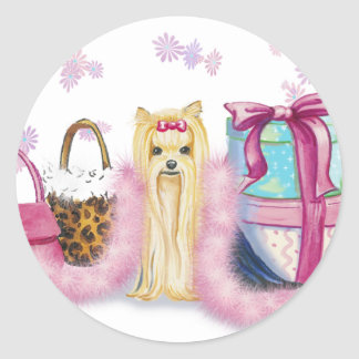 Yorkie Yorkshire Terrier with Feather Boa Classic Round Sticker