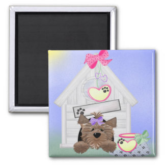 Yorkiegirl-doghouse 2 Inch Square Magnet