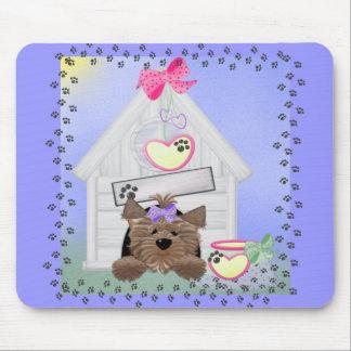Yorkiegirl-doghouse Mouse Pads