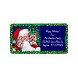 Yorkies de Santa en las etiquetas del navidad Etiqueta De Dirección