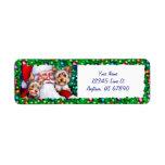 Yorkies de Santa en las etiquetas del navidad Etiqueta De Remite
