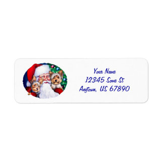 Yorkies de Santa en las etiquetas del navidad Etiquetas De Remite