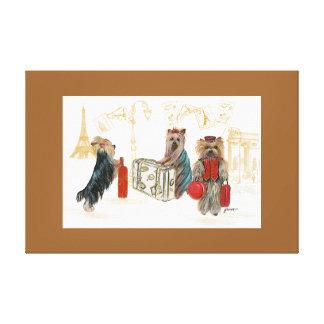 Yorkies  & Eiffel Tower in Paris Travelling Canvas Print