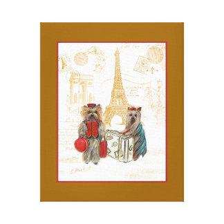 Yorkies & Eiffel Tower Paris Travel Print