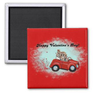 Yorkies en tarjetas del día de San Valentín Imán Cuadrado