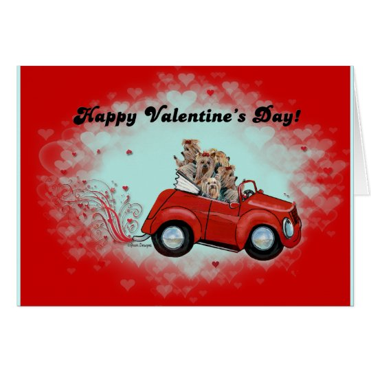 Yorkies in Convertible Valentines Card