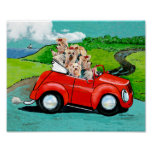 Yorkies in Red Convertible Canvas Art Print
