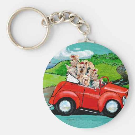 Yorkies in Red Convertible Keychain