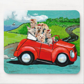 Yorkies in Red Convertible Mousepad