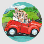 Yorkies in Red Convertible Stickers