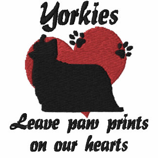 Yorkies Leave Paw Prints Embroidered Shirt